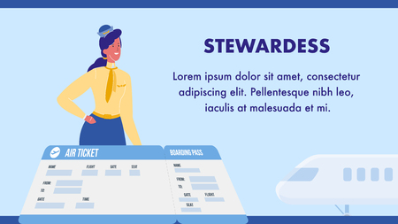 Stewardess Vector Web Banner Layout with Copyspace. Smiling Flight Attendant. Air Ticket, Boarding Pass. Female Character in Professional Uniform. Airlines Flat Poster. Airplane, Plane