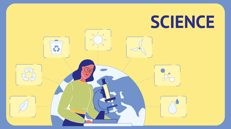 Science Flat Vector Web Banner Template with Text. Girl in Laboratory. Woman with Microscope. Ecologist. Scientific Equipment. Female Researcher Character. Environment Protection. Lab Testing Vettoriali