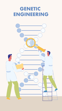 Genetic Engineering Flat Vector Flyer Template. DNA, Genetic Sign. Scientists Characters. Man with Magnifier Looking at Molecule. Helix, Spiral. Molecular Biology, Medical Researches Cartoon Poster