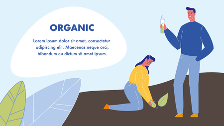 Organic Flat Vector Web Banner with Text Space. Eco Fertilizer. Man Holding Tube with Green Liquid. Biologist, Ecologist. Woman Planting Sprout. Plant in Ground. Farming, Gardening, Agriculture