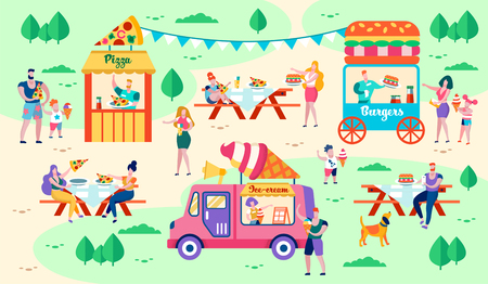 Rest and Food in City Park Vector Illustration. Food Facilities are Located on Green Lawns. People Buy Pizza, Burgers and Ice Cream. Lunch in Open Air with Friends. City Buildings for Food Court.