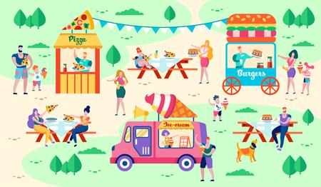 Riposo e cibo nell'illustrazione vettoriale del parco cittadino. Le strutture alimentari si trovano su prati verdi. La gente compra pizza, hamburger e gelato. Pranzo all'aria aperta con gli amici. Edifici della città per Food Court. Vettoriali