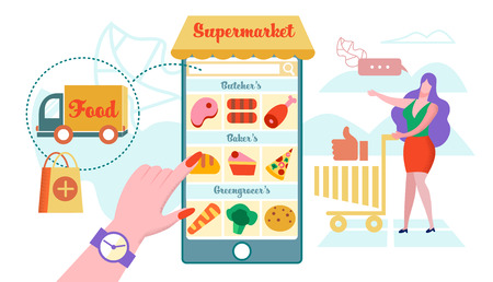 Online Supermarket, Home Delivery Flat Vector. Smartphone Screen Application for Ordering Online Food. Woman Chooses Items in Basket. Car Delivers Order. Inscription Bakery, Greengrocer and Butcher. Stock Illustratie