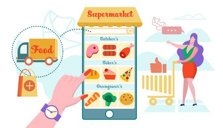 Online Supermarket, Home Delivery Flat Vector. Smartphone Screen Application for Ordering Online Food. Woman Chooses Items in Basket. Car Delivers Order. Inscription Bakery, Greengrocer and Butcher. Illustration
