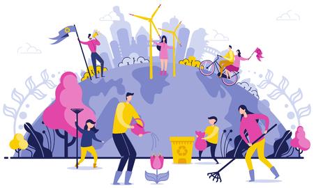 Ilustración plana de eliminación de basura de todo el planeta. Limpieza a gran escala en el planeta. La gente se preocupa por el medio ambiente. Utilice energía verde segura. Padres e hijos recogen basura, riegan flores. Ilustración de vector