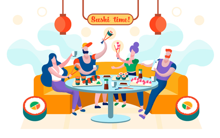 Flat Sushi Time is Written Vector Illustration. Group Young People Sit in Restaurant and Eat Sushi. Men and Women are Photographed on Sushi Smartphone. Joint Rest with Friends Cartoon.