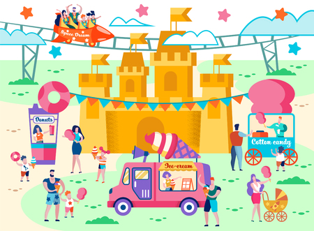 Food Court in an Amusement Park Flat Cartoon. Parents with Children have Fun on Rides. People Buy Ice Cream, Cotton Candy and Drinks. Quick Snack in Rest Area. Vector Illustration. Vectores