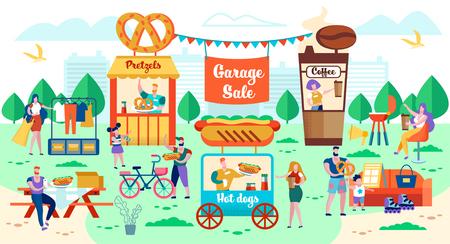 Venta de Garaje, Feria de la Ciudad y Comida Rápida en la Calle. Quiosco móvil de venta de perros calientes. Locales para la Venta de Pastelería y Café. La gente compra alimentos y bebidas. Hombres y mujeres comen en mesas en la calle.