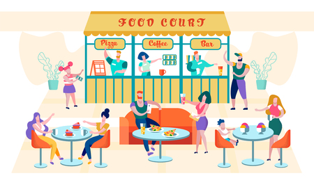 Flat Food Court Inscription Pizza, Coffee, Bar. People sit at Tables and Eat Restaurant Dish. Girl Orders Pizza at Counter. Self-service in Restaurant. Vector Cartoon Illustration.