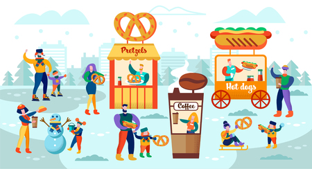 Vector Illustration Food Court on Ice Rink Flat. Parents with Children Relax and have Fun on Citys Ice Skating Rink. Quick Snacks with Hot Drinks and Food. Children Sledding and make Snowman.