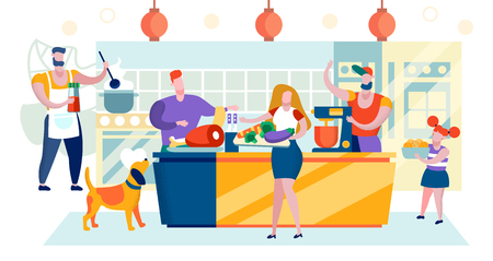 Vector Illustration Shopping Mall Area Cartoon. Open Kitchen, you can See how Cook Prepares Food. Butcher Prepares Meat for Sale. Woman is Carrying Vegetables on Tray, Self Service.