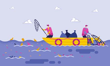 Eliminación de basura en el mar o el océano plano de dibujos animados. Voluntarios masculinos hurgan en el mar o el océano mientras están en un barco, con redes de ayuda y colocan la basura en paquetes. Purificación de agua a partir de desechos.