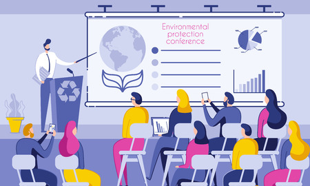 Inscription Environmental Protection Conference. People Sit in Conference Room and Listen to Speaker. Male Speaker Stands Behind Desk and Shows on Chart Data Pollution Planet. Vector Illustration. Vettoriali