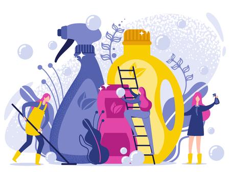 Ilustración plana de productos de lavado y limpieza. Utilice detergentes y productos de limpieza orgánicos para mantener la limpieza. Las mujeres cuidan el orden. Sustancias biológicas seguras en envases de plástico. Ilustración de vector