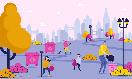 Family Days Off is Cleaning up Trash in Park. Group People Bagging Waste Scattered in Green Area City. Men and Women Care about Cleanliness City. Vector Illustration. Eco Material.