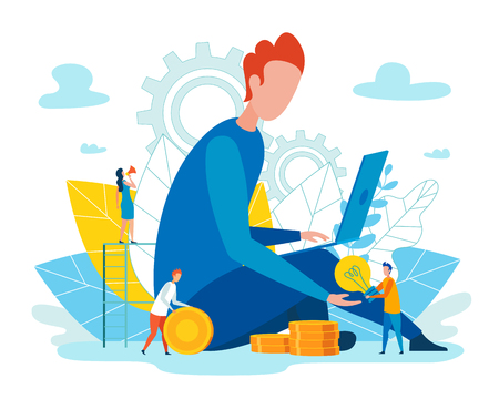 Flat Team Operates Efficiently and without Stress. Man Looks into Laptop. Little People Count Gold Coins. Awareness their Strengths and Weaknesses, Idea their Career and Individual Style. Ilustração