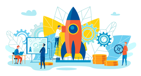 Team Metaphor Leadership Vector Illustration. Men Prepare Rocket for Launch using Gears and Data Analysis. Man Works Laptop. Team Metaphor Teamwork on Goals and Objectives. Cartoon Flat.  イラスト・ベクター素材