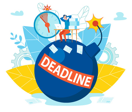Inscription Deadline on Bomb Vector Illustration. Man Took his Head, Manager in Office Sitting Table. Awareness end Term Work on Project Causes Stress. Work Aimed at Speed Execution Tasks.