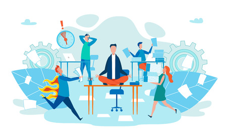 Deadline in Work Stress for Body Cartoon Flat. Office Worker Meditates While Sitting Desk. Man Runs with Burning Back. Men and Women Manager Carry Pile Documents. Vector Illustration.