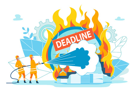 Firefighters Extinguish Inscription Deadline. Habit Disrupting Timing due Lack Consequences or Punishment. Close-up Pile Papers and Hourglasses Burning with Strong Flame. Vector Illustration.