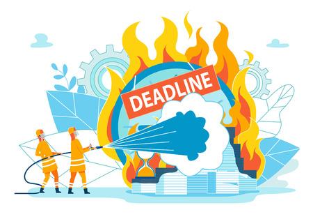 Los bomberos extinguen el plazo de inscripción. Hábito que interrumpe el tiempo debido a la falta de consecuencias o castigo. Pila de papeles y relojes de arena ardiendo con llama fuerte. Ilustración de vector. Ilustración de vector