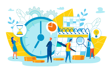 Check by Head on Calendar Work Plans Cartoon Flat. Keep Diary, Minutely Paint Day and more often Check with Plan. Teamwork, Where Everyone Takes on Specific Commitments that Affect Overall Result.