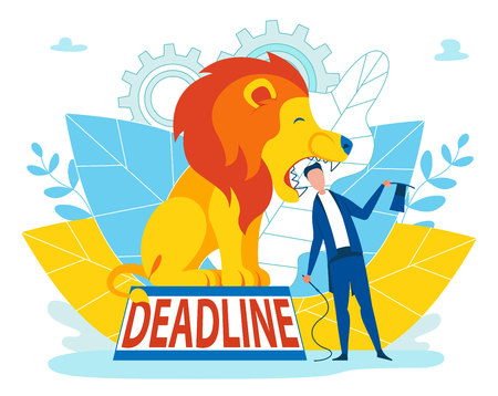 Man Taking Risks with Deadline Inscription Cartoon. Man in Suit Puts his Head in jaws Lion. Lion Trainer Performs. Lion is Sitting on Pedestal with Inscription Deadline. Flat Vector.