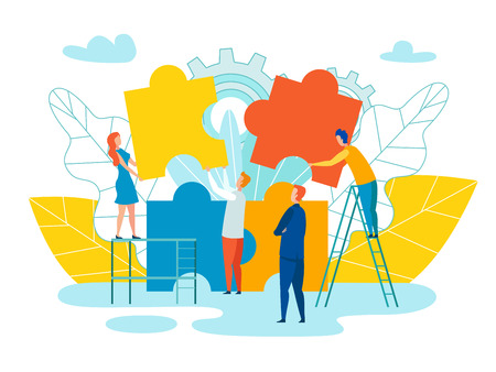 Team Formation and Development Vector Illustration. Modern Men and Women Assemble Puzzle Large Elements. Embodiment Corporate Mission in Work Team. Man in Suit Oversees Work Employees. Illustration