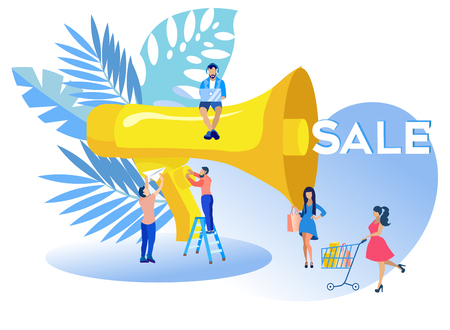 Vector Illustration Inscription Sale Cartoon. Business Plan Step by Step Guide Entrepreneur. Ability to Find way Out Unpleasant Situations, Solve Daily Problems. Man Speaks into Loudspeaker.