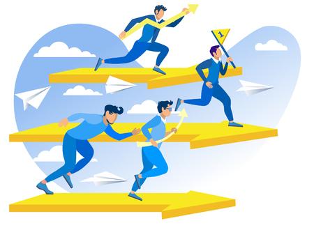 Ilustración de Vector de supervivencia y rendimiento. Los competidores están interesados en llevar su negocio al primer lugar. Los hombres compiten en correr. Análisis de competidores de la organización de éxito de componentes.