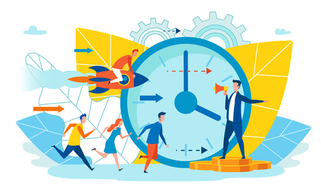 Head Manages Staff to Complete Term Cartoon Flat. Management Monitors Implementation Intermediate Tasks. Work Process has Deadline for Order, which Focuses Entire Team. Urgent and Phased Deadline. Vector Illustration