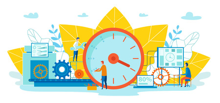 Intermediate Targets Vector Illustration Cartoon. Learn how to Plan your Day and have Time for Everything. Men Check Speed Tasks. Man with Wrench Adjusts Clock. Note and Schedule Work Assistance. Çizim