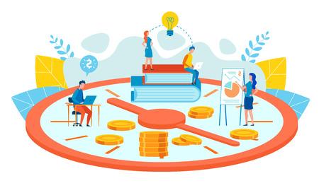 Plano de dibujos animados de planificación de objetivos personales a largo plazo. El hombre en la mesa se comprometió a desarrollar estrategias para la creación de nuevos productos. El trabajo en equipo y la buena gestión del tiempo generan beneficios. Ilustración de vector.