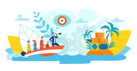 Perfect Team Achieving Success Flat Illustration. Men and Women Float  Boat. Man Stands Bow Boat and Looks through Telescope. Treasure Treasure on Island in Sea. Productive Interaction Colleagues. Illustration