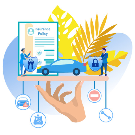Vehicle Insurance Vector Illustration Cartoon. Purchase Auto Insurance Car Saves Car Owner. Insurance Agent Presents Range Insurance Services. Man Behind Desk Speaks Hall where Car Stands.