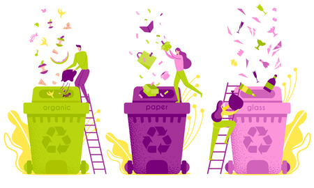 Flat Illustration Waste Sorting and Disposal. Distribution Waste in Garbage Containers. Man Pours Organic Garbage into Tank. Women Sort Separately Paper and Glass. Recycling and Disposal.