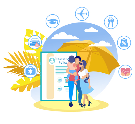 Family Insurance Program Vector Illustration. Travel Insurance Policy. Family with Baby Background Palm Trees Document. Insurance Policy to Protect your Health Travel in Case Unforeseen Situations.