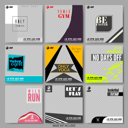 Collection Sport Themed Templates for Special Offers Advertisement. Bright Colors Within Different Forms. Internet Store Business Promo Flyer, Poster. Advertising Vector Illustration. Square Banner