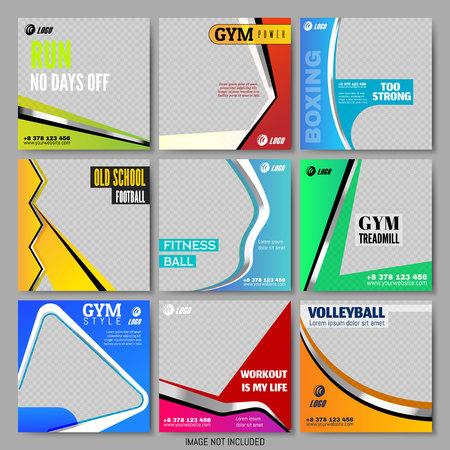 Définir des modèles carrés minimalistes. Pack pour la création de contenu unique. Affiches colorées. Sport Business Flyers Conception simple pour les médias sociaux. Mode de vie sain. Illustration vectorielle. Bannière carrée