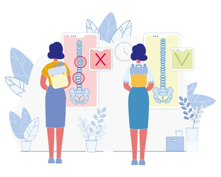 Bad Habit Harmful for Health Flat Vector Concept. Woman Wearing and Carrying Heavy Backpack on One Shoulder Illustration. Spine Diseases and Posture Problems Prevention Medical Scheme, Infographics Vettoriali