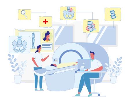 Columna vertebral humana, concepto de Vector plano de tecnología de diagnóstico de enfermedades de la columna vertebral. Doctor sentado en el escritorio con la enfermera de la computadora ayudando al paciente acostado en la ilustración del aparato de imágenes de resonancia magnética Ilustración de vector