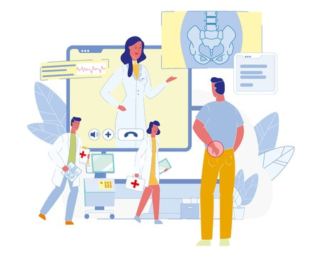 Future Medicine Technologies, Innovative Clinic or Hospital Flat Vector Concept. Doctor Consulting Male Patient with Pain in Back via Online Video Conference Illustration. Internet Healthcare Service