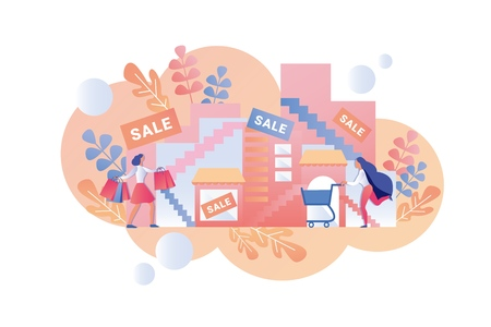 Happy Women go Shopping Mall for Seasonal Sale. Vector Illustration on White Background, Flat Cartoon. Action And Cumulative Discount for Purchase Everyday Goods. Woman with Cart near Store.