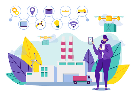 Delivery by Drones From Manufacturer to Buyer. Factory for Production Goods, Modern Technologies are used Attract Customers and Market Products. Man Controls Drone. Vector Illustration.