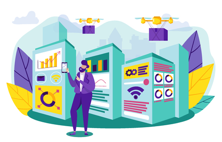 Logical Production Control Systems in Production. Vector Illustration. Man in Business Suit Controls Drones and Automation with Smartphone. Online Application for Managing Production Machines. Vettoriali