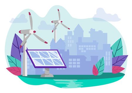 Modern Technologies for Extraction Green Energy. Solar Panel and Wind Columns on Background Big City. Flat Cartoon, Vector Illustration. Natural Energy Ecological Product, Alternative Energy.