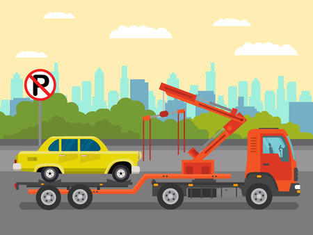 Car Evacuation Service Flat Color Illustration. Semi Truck, Tow Truck Delivering Vintage Sedan. Trucking Business, Transportation Industry. No Parking, Road Sign. Semi Trailer Evacuating Passenger Car