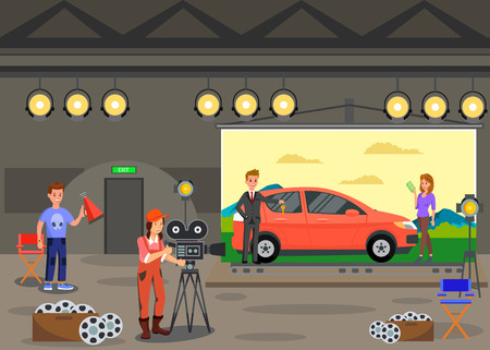 Commercials Shooting, Film Set Vector Illustration. Operator Working with Camera, Director with Loudspeaker and Actors Cartoon Characters. Man Selling Car to Woman. Movie Making Backstage  イラスト・ベクター素材