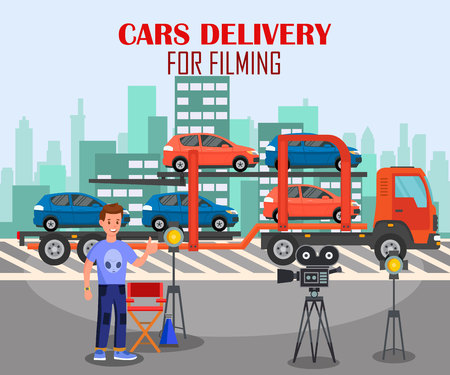 Cars Delivery for Filming Flat Banner Template. Movie Studio Worker Cartoon Character. Operator Working with Video Equipment. Cinema Production, Film Industry, Film Set Illustration with Lettering