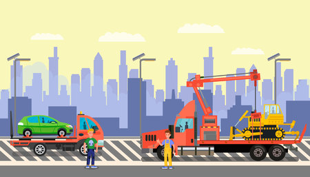 Cargo Shipping Business Flat Color Illustration. Worker in Overalls and Guy in Casual Clothes Cartoon Characters. Semi Truck with Minivan and Carrier with Buldozer. Vehicle Transportation Service